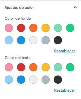 paleta colores defecto Gutenberg sin selector