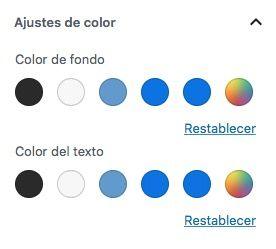 paleta colores personalizada Gutenberg colores personlizador