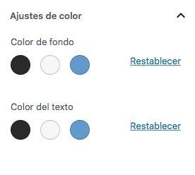 paleta colores personalizada Gutenberg sin selector