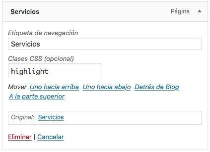dar clases items menu WordPress