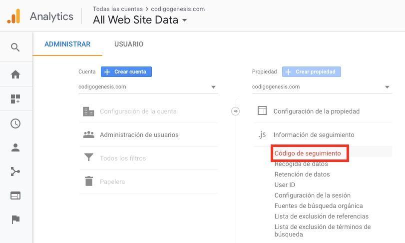 obtener código seguimiento google analytics