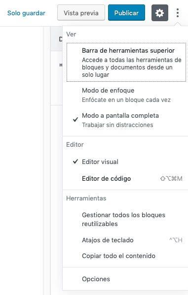 cambiar a modo editor codigo WordPress