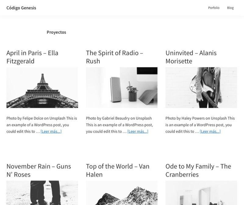 mostrar rejilla pagina archivos Genesis Framework
