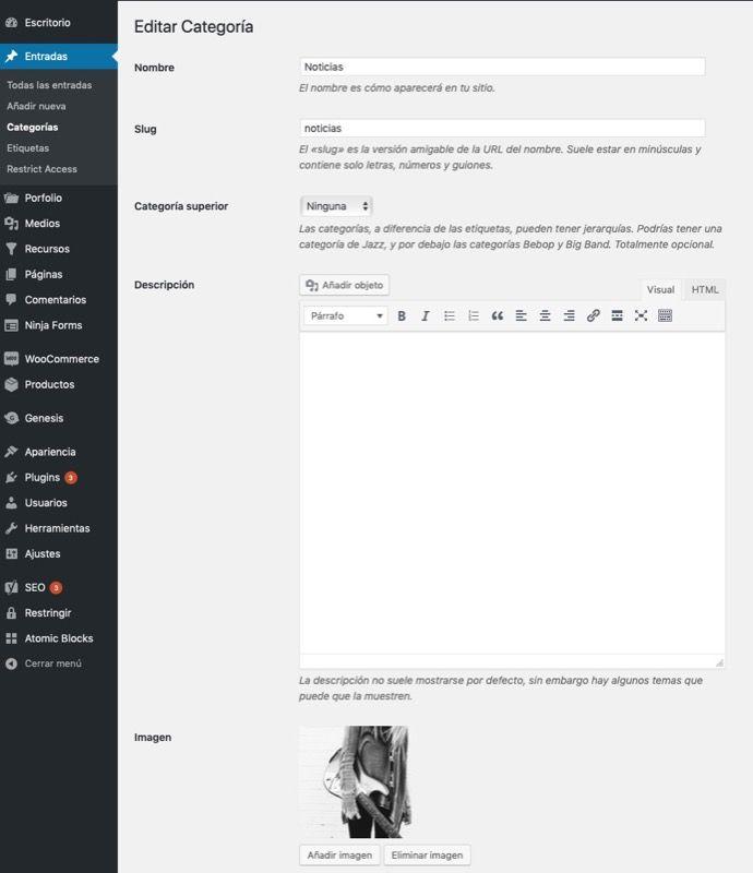 ajustes añadir imagen categoria WordPress home