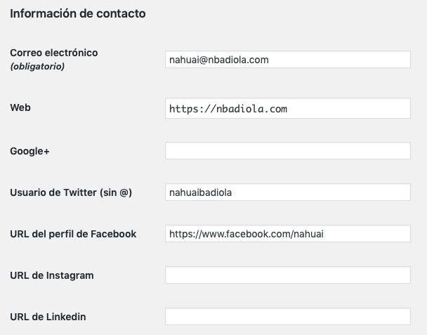añadir redes sociales Instagram campo contacto usuario WordPress