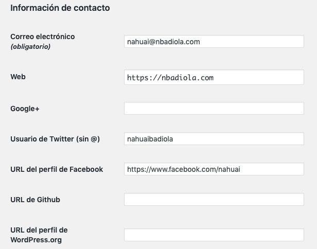 añadir redes sociales tecnicas campo contacto usuario WordPress.