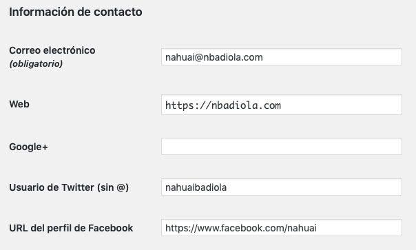 redes sociales campo contacto usuario WordPress