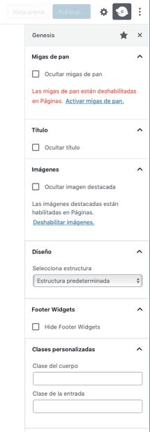 opciones barra lateral Genesis editor bloque