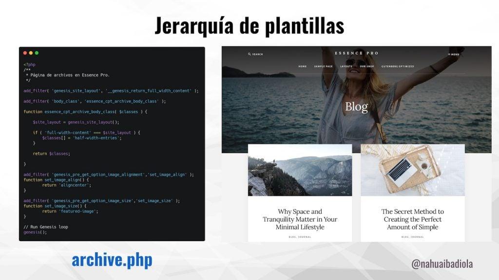 Código en la plantilla archive.php de Essence Pro