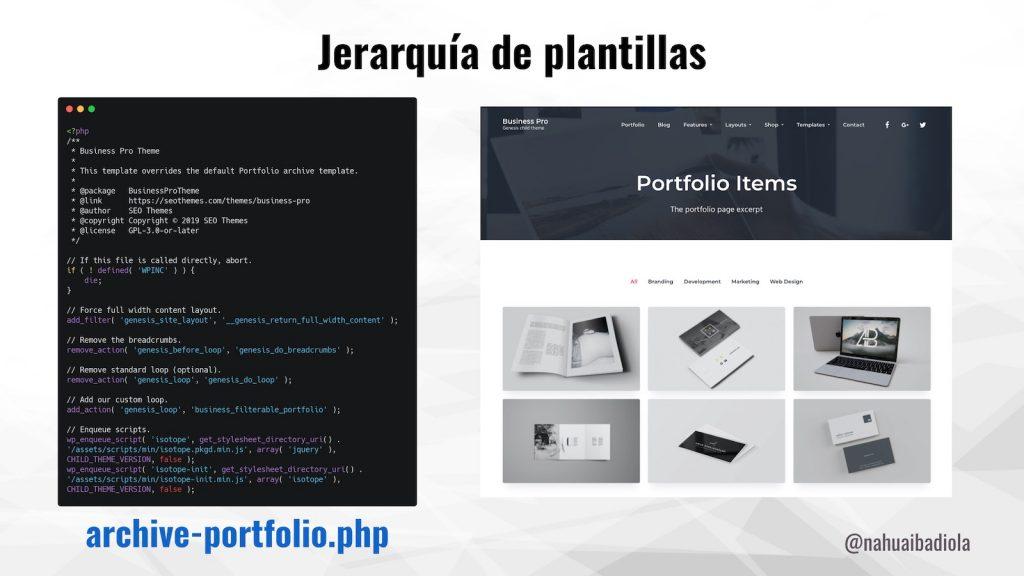 Código de plantilla de página para archive-portfolio.php en Business Pro