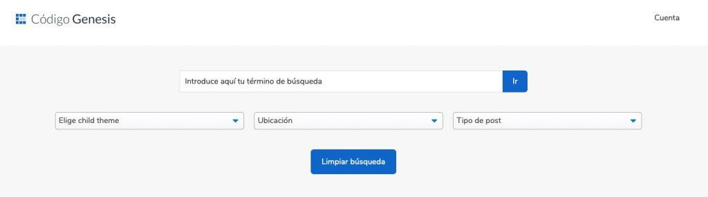 Buscador con filtros para encontrar tutoriales de código sobre WordPress y Genesis Framework