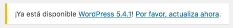 Notificación de actualización en WordPress en el panel de administrador