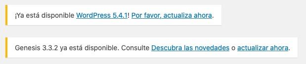 Captura de pantalla mostrando los avisos de actualización en el panel de administración de WordPress y Genesis