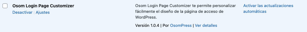 opción ajustes plugin WordPress