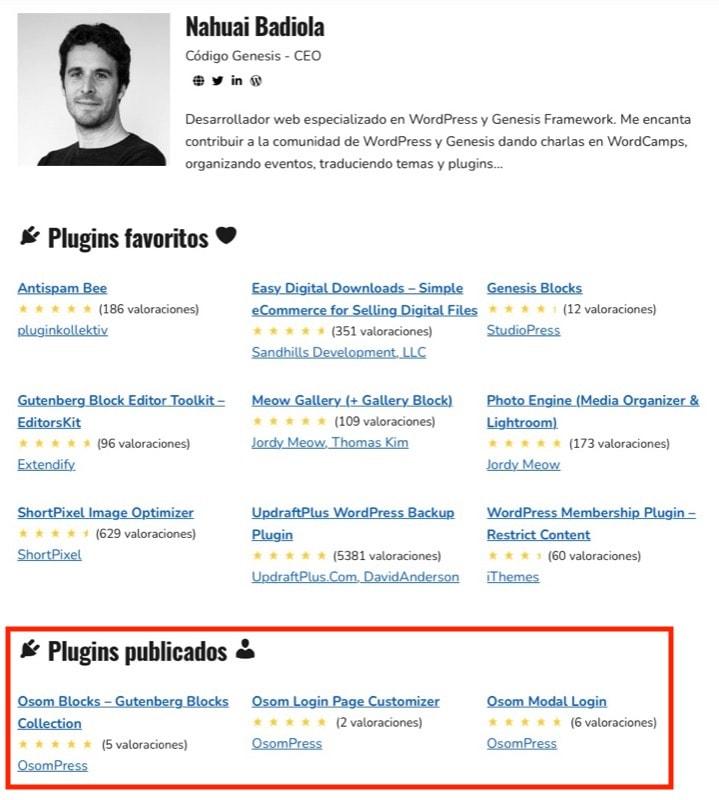 mostrar plugins creados usuario WordPress